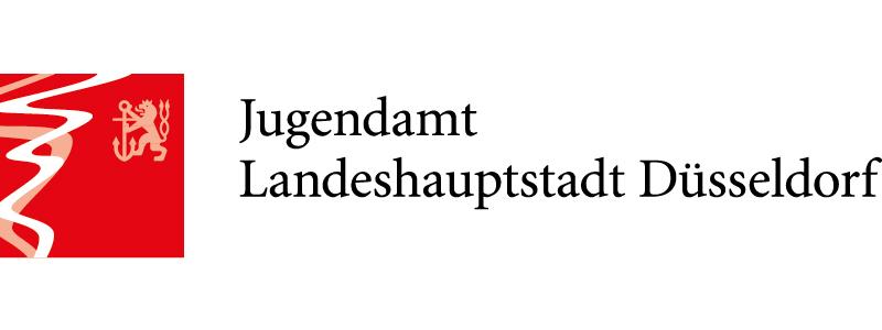 Logo des Jugendamtes der Landeshauptstadt Düsseldorf. Offizielles Zeichen der Stadt mit Schriftzug rechts daneben