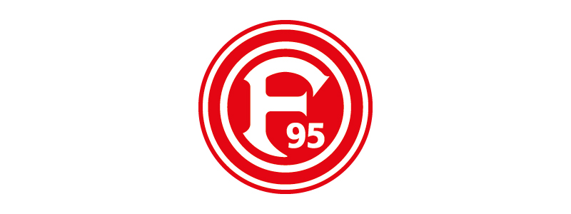 Logo des Düsseldorfer Turn- und Sportverein Fortuna 1895 e.V. Roter Kreis mit F95 in der Mitte.