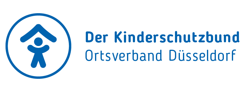 Logo des Kinderschutzbund Ortsverband Düsseldorf. Kind mit Dach über dem Kopf in blauem Kreis.