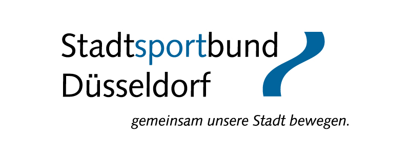 Logo des Stadtsportbund Düsseldorf. Schrift zu mit blauer geschwungener Linie an der rechten Seite